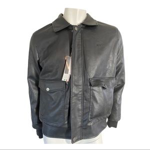 BV Clothing Black Leather Bomber Faux Fur Lining M